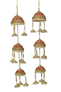 Parecido Designer Traditional Wedding Kaleere Set In Golden And Red Color With Pearls For Women (pc-wk2)