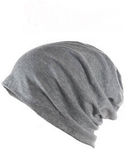 Grey Beanie Skull Slouchy Cotton Cap