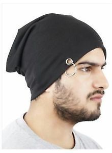 Beanie Cap With Ring Black For Men Women Boys Girls