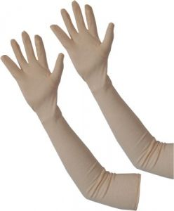 Biking Gloves, Jackets - Beige Full Hand Arm Sleeve Elbow Sleeves Soft Cotton Universal Size (Pair)