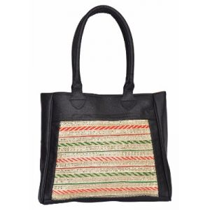 Azzra Black Ethnic Handbag For Ladies (code - Awhb1085-blak)