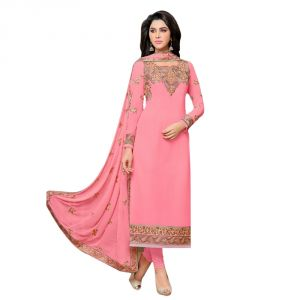 Bollywood replica designer wear - Bollywood Replica Designer Very Attractive  Pink Colour Embroidered Straight Cut Salwar Kameez. (Code - 148F4F02DM)