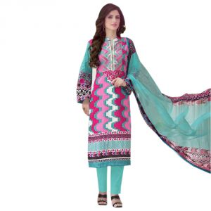 99pockets Lawn Cotton Pink - Blue Unstitched Dress Material - (code - Aa010)