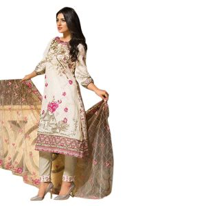 Uac-by 99pockets Offwhite Pure Cotton Lawn Suit With Net Dupatta-(product Code-kk003)