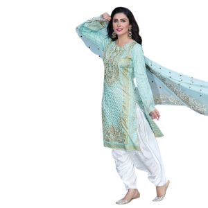 Uac-by 99pockets Green Pure Cotton Lawn Suit With Net Dupatta-(product Code-kk004)