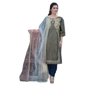 Uac-by 99pockets Black Pure Cotton Lawn Suit With Net Dupatta-(product Code-kk005)