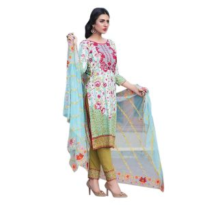 Uac-by 99pockets Blue Pure Cotton Lawn Suit With Net Dupatta-(product Code-kk006)