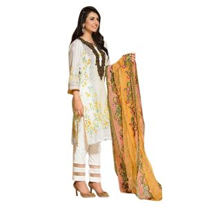 Uac-by 99pockets Yellow Pure Cotton Lawn Suit With Net Dupatta-(product Code-kk009)