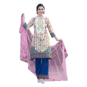 Uac-by 99pockets Yellow Pure Cotton Lawn Suit With Net Dupatta-(product Code-kk012)