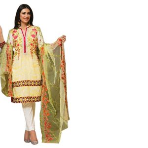 Uac-by 99pockets Yellow Pure Cotton Lawn Suit With Net Dupatta-(product Code-kk017)