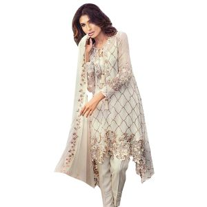 Dress Materials - Uac-by 99pockets Offwhite Faux Georgette Suit With Chiffon Dupatta-(Product Code-KK021)