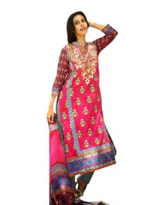 Uac-by 99pockets Pink Pure Cotton Lawn Suit With Silk Dupatta-(product Code-kk022)