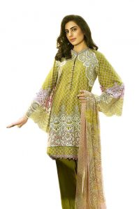 Uac-by 99pockets Green Pure Cotton Lawn Suit With Chiffon Dupatta-(product Code-kk032)