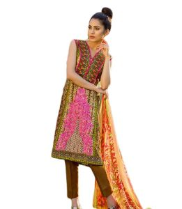 Uac-by 99pockets Brown Pure Cotton Lawn Suit With Chiffon Dupatta-(product Code-kk034)