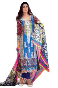 Uac-by 99pockets Blue Pure Cotton Lawn Suit With Chiffon Dupatta-(product Code-kk037)