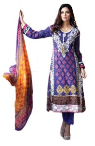 Uac-by 99pockets Blue Pure Cotton Lawn Suit With Chiffon Dupatta-(product Code-kk038)