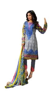 Uac-by 99pockets Yellow Pure Cotton Satin Lawn Suit With Chiffon Dupatta-(product Code-kk039)