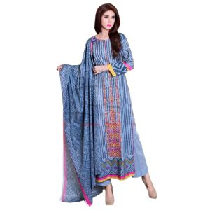 Uac-by 99pockets Blue Pure Cotton Lawn Suit With Lawn Dupatta-(product Code-la-016)