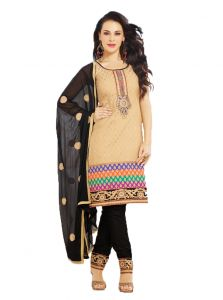 99pockets Lawn Cotton Brown - Black Unstitched Dress Material - (code - Mt035)