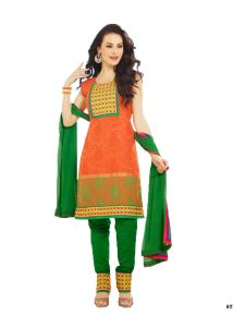 99pockets Lawn Cotton Orange - Green Unstitched Dress Material - (code - Mt036)