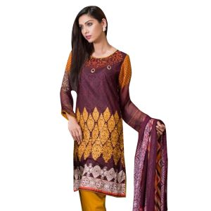 Uac-by 99pockets Brown Pure Cotton Lawn Suit With Chiffon Dupatta-(product Code-mt041)