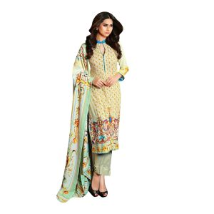 Uac-by 99pockets Green Pure Cotton Lawn Suit With Chiffon Dupatta-(product Code-mt043)