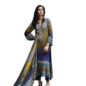 Uac-by 99pockets Blue Pure Cotton Lawn Suit With Chiffon Dupatta-(product Code-sh011)