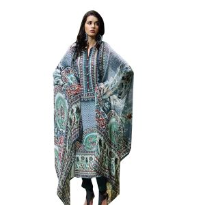 Uac-by 99pockets Blue Pure Cotton Lawn Suit With Chiffon Dupatta-(product Code-sh012)