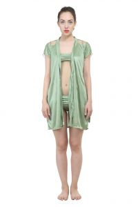Uac-by 99pockets Satin Green Knee-length Gown Set (free Size) (code - Uac-15)