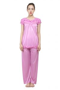 Uac-by 99pockets Satin Pink Top And Pyjama Set (free Size) (code - Uac-17)