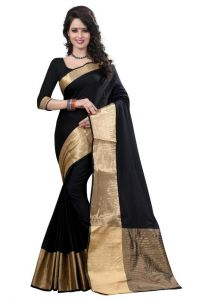 Holyday Womens Banarasi Silk Thread Saree_ Dark Black (with Blouse)