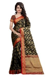 Holyday Womens Banarasi Silk Thread Saree_ Black (with Blouse)