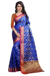 Holyday Womens Banarasi Silk Thread Saree_ Light Blue (with Blouse)