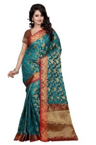 Holyday Womens Banarasi Silk Thread Saree_ Dark Ice Blue (with Blouse)