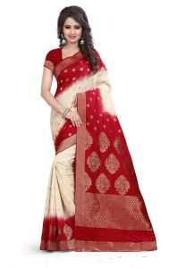 Holyday Womens Banarasi Silk Thread Saree_ Dark Red (with Blouse)