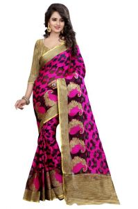 Holyday Womens Brasso Thread Saree_ Dark Pink (with Blouse)