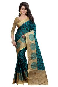 Holyday Womens Brasso Thread Saree_ Dark Ice Blue (with Blouse)