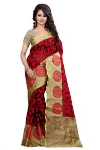 Holyday Womens Brasso Thread Saree_ Red (with Blouse)
