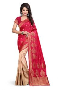 Holyday Womens Banarasi Silk Thread Saree_ Dark Pink (with Blouse)