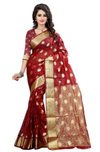 Holyday Womens Brasso Thread Saree_ Light Rust Red (with Blouse)