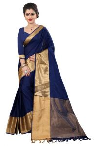 Holyday Womens Banarasi Silk Thread Saree_ Nevy Blue (with Blouse)