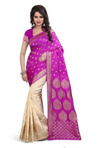 Holyday Womens Banarasi Silk Thread Saree_ Hot Pink (with Blouse)