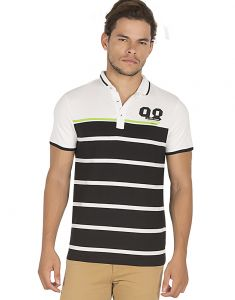 Bonaty 100% Cotton Sinker Polo Neck Stripes T-shirt For Men
