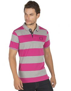 Bonaty 100% Cotton Pique Polo Neck Stripes T-shirt For Men