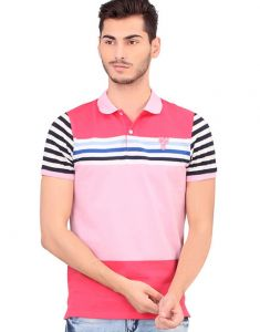 Bonaty Cotton Pique Polo Neck Stripes T-shirt For Men
