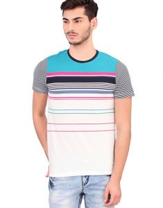 Bonaty Cotton Pique Round Neck Stripes T-shirt For Men