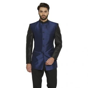 Ethnic Wear (Men's) - irin Ethnic Blended Silk Blue Indo-Western Bandgala (Indian Coat)  For Men