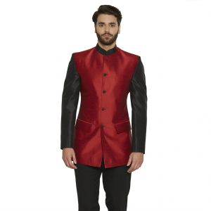 Irin Ethnic Blended Silk Red Indo-western Bandgala (indian Coat) For Men