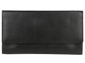 Irin Black Travel Leather Tri Fold Document Holder