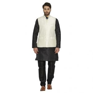 Irin Ethnic Blended Silk Cream Koti (waistcoat) And Black Kurta Churidar For Men